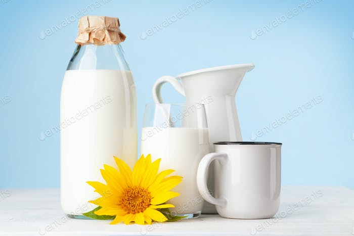 Milk in glass, bottle and jug
