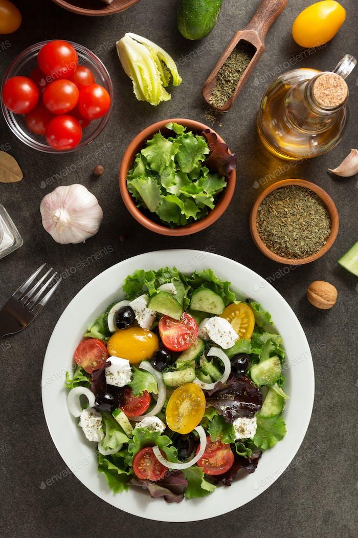 fresh greek salad in plate