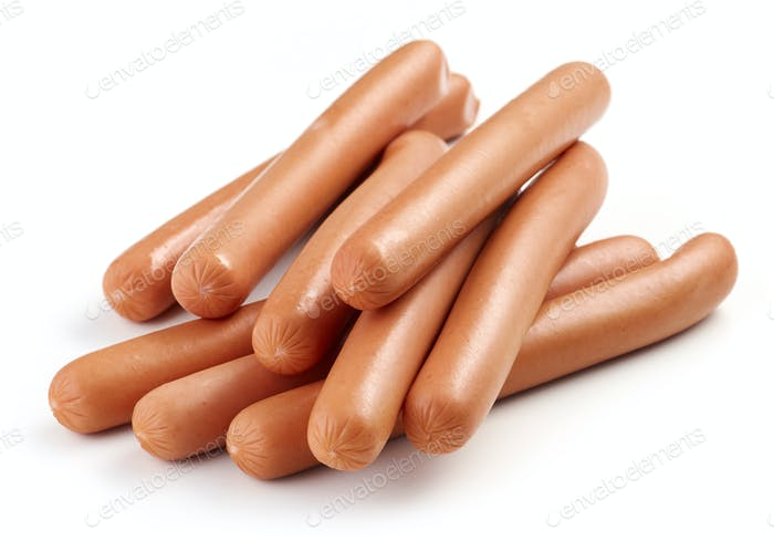 fresh boiled sausages on white background
