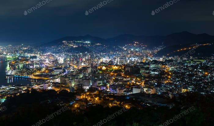 Nagasaki cityscape at night