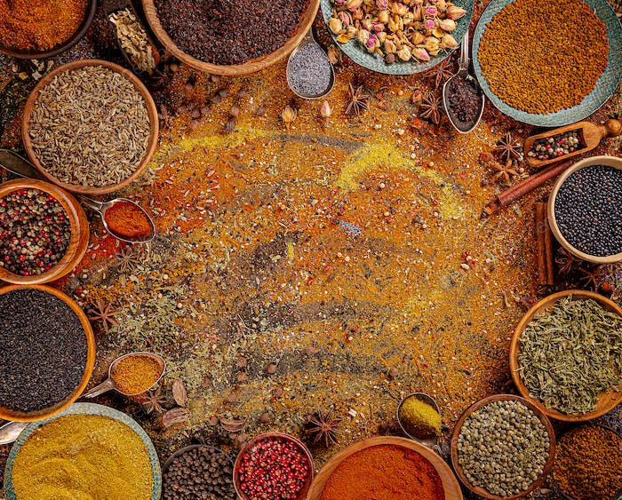 Various spices in a bowls.