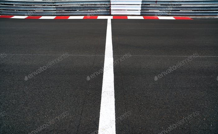 Start and Finish line in motor race asphalt Grand Prix track and