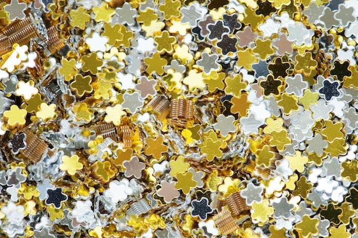Closeup of colorful stars decorative papers closeup