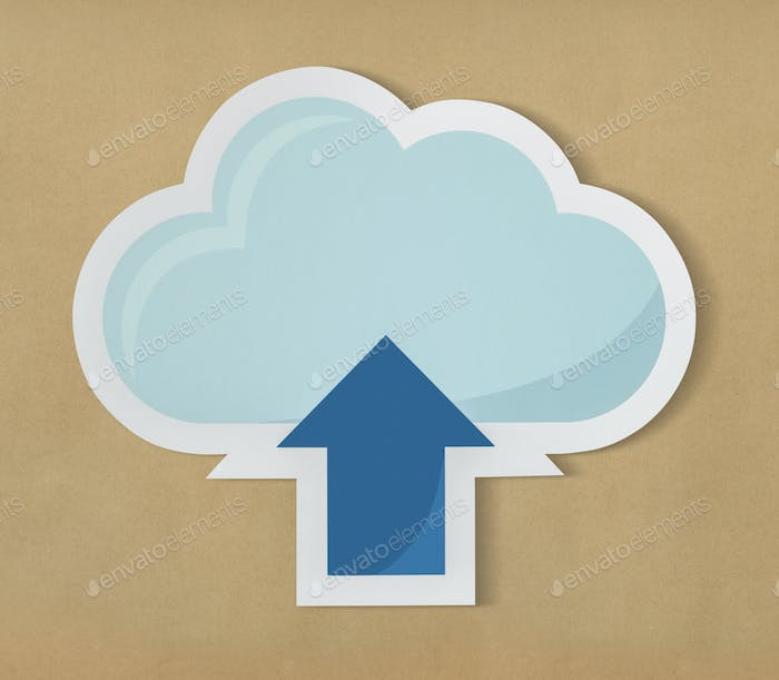 Cloud uploading icon technology graphic