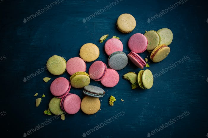 Colorful macarons dessert