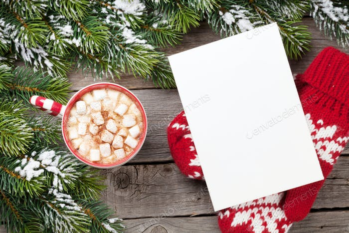 Christmas greeting card with fir tree and hot chocolate with mar