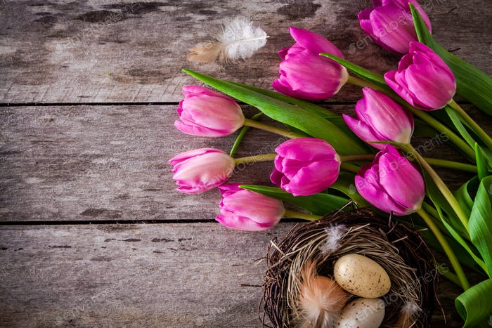 bouquet of purple tulips with a nest with eggs on a wooden background