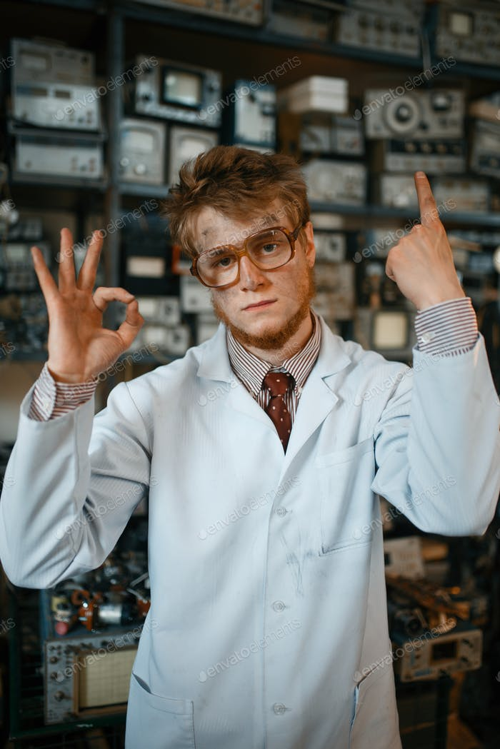 Strange scientist shows signs with fingers in lab