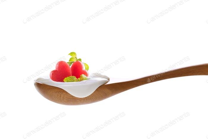 Food yogurt on spoon