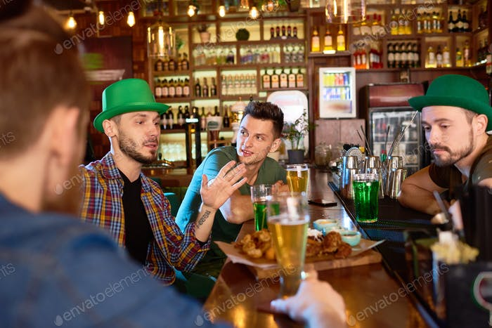 Handsome Friends Gathered Together in Pub