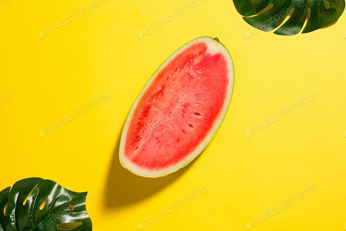 Watermelon on yellow background