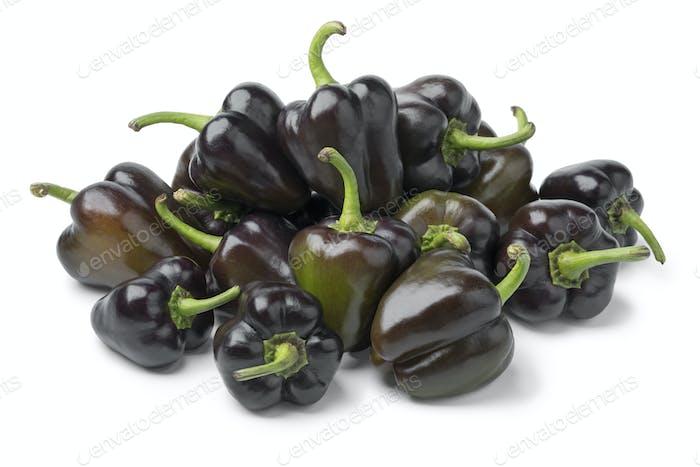 Heap of fresh raw mini purple bell peppers