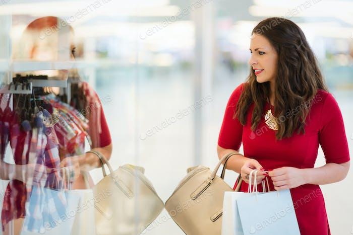 Woman shopping in shopping mall