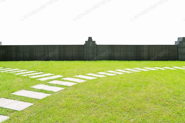 lawn and wall isolated