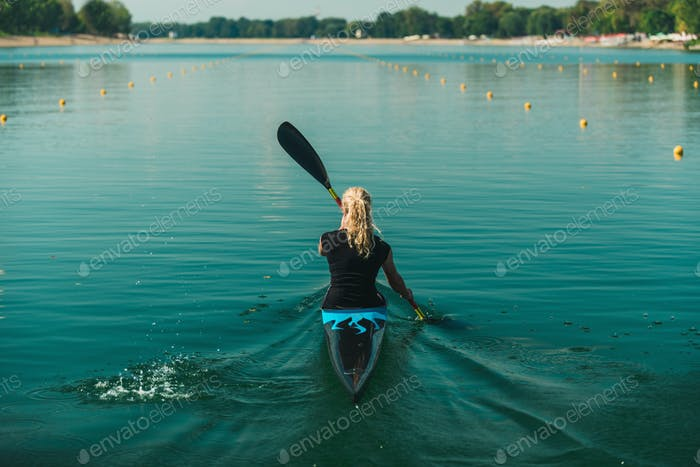 Kayak - female kayaker, training