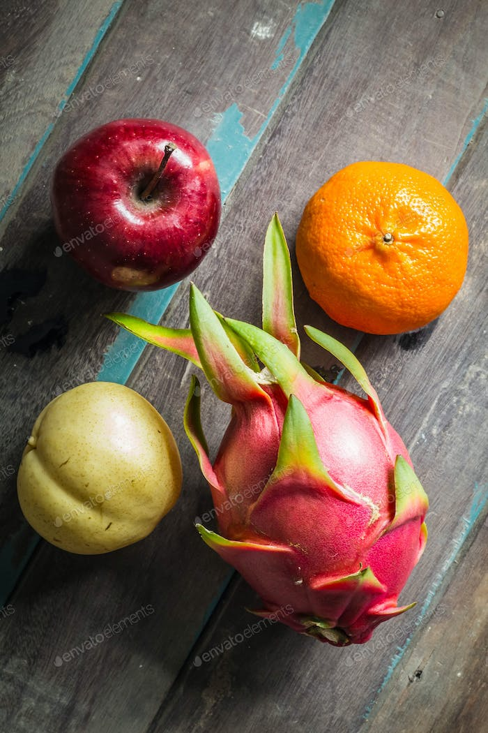 fruit on a wooden