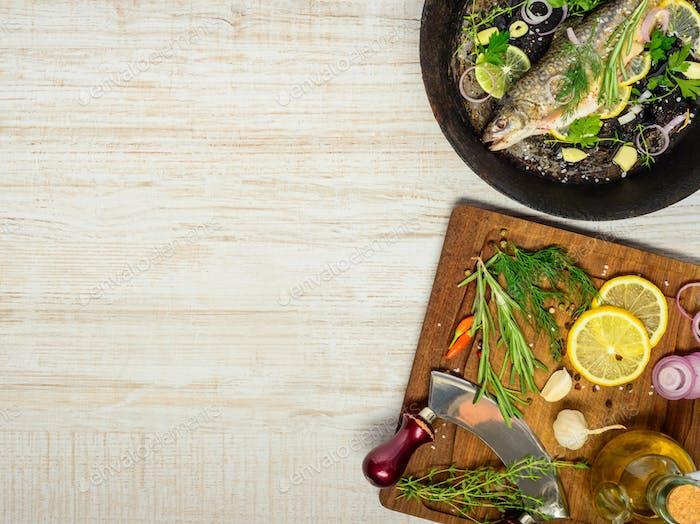 Cooking Fish in Frying Pan