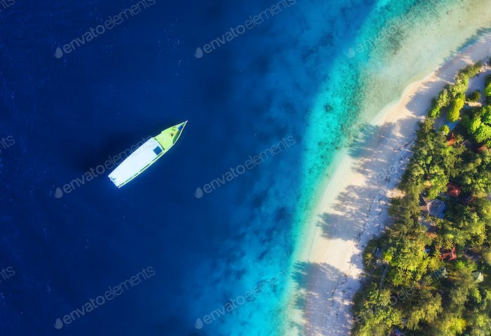 Beach and boats as a background. Gili Meno islands, Indonesia