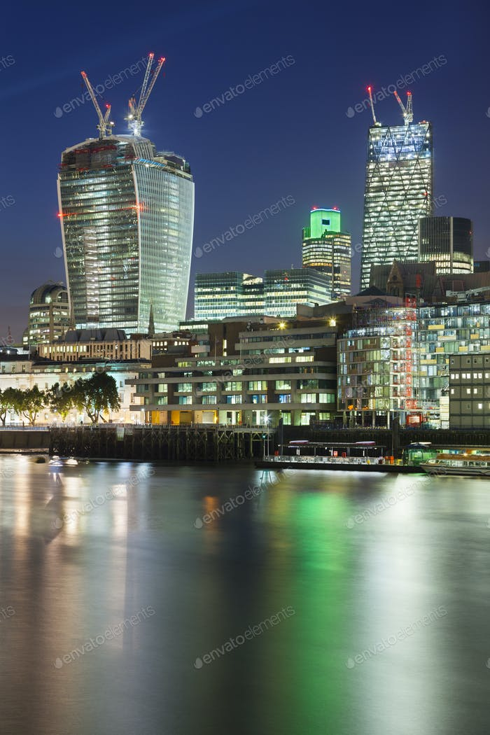 City of London and Thames River At Night
