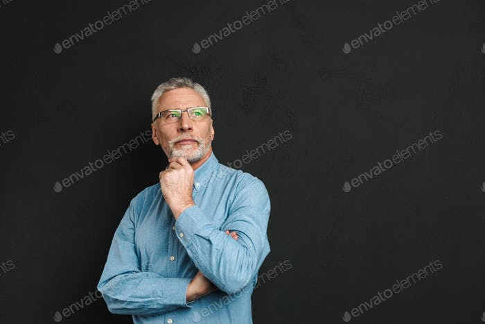 Portrait of elderly man 70s with grey hair and beard touching hi