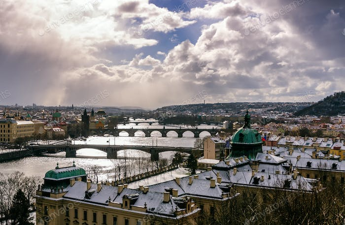 Towers of Charles bridge and old town district. Prague, Czech republic