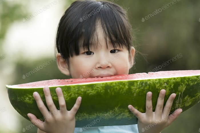 Happy little girl with watermelon in a garden