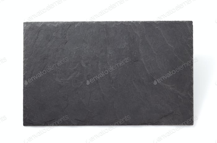 slate stone tray isolated on white