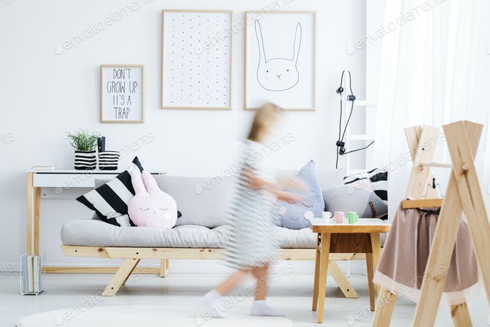 Girl walking around room