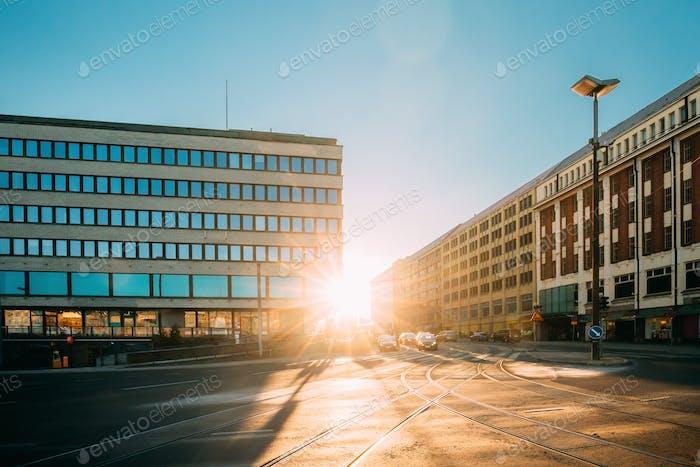 Helsinki, Finland. View Of Siltasaarenkatu Street. Moving Cars I