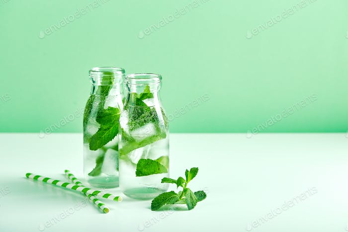 Fresh lemonade with mint in glasses
