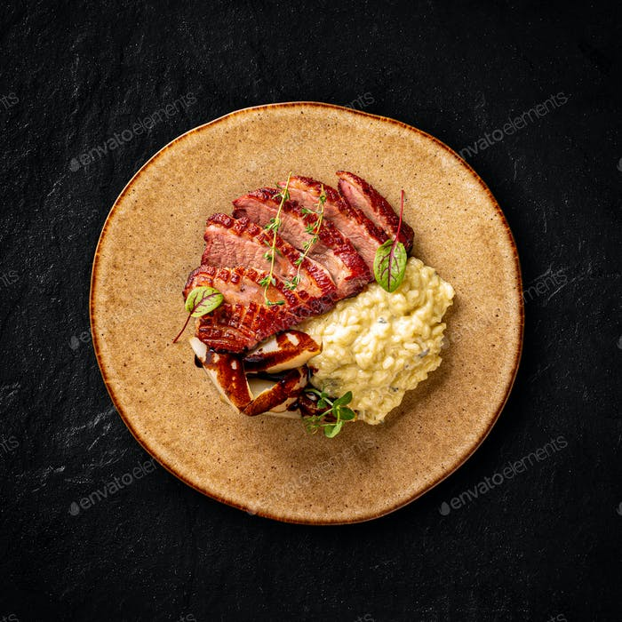 Duck breast with risotto