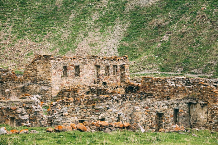 Old Empty Abandoned Forsaken Village With Dilapidated Houses In Truso Gorge, Kazbegi District