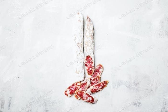Raw smoked spanish sausages