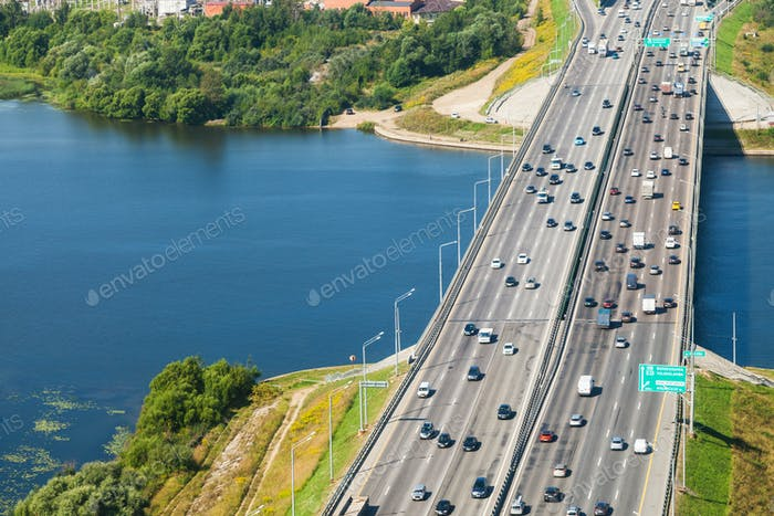car traffic on bridge over Moscow River