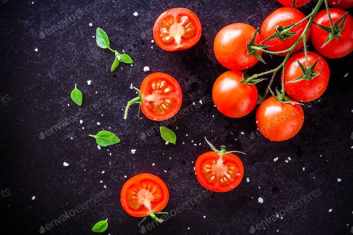fresh organic cherry tomatoes with basil and sea salt