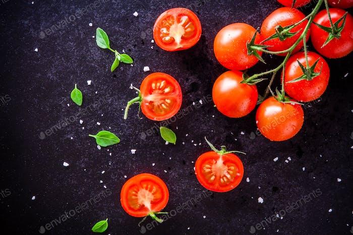 fresh organic cherry tomatoes with basil and sea salt