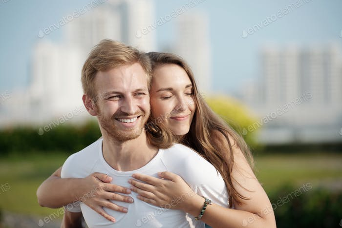 Happy in her embrace