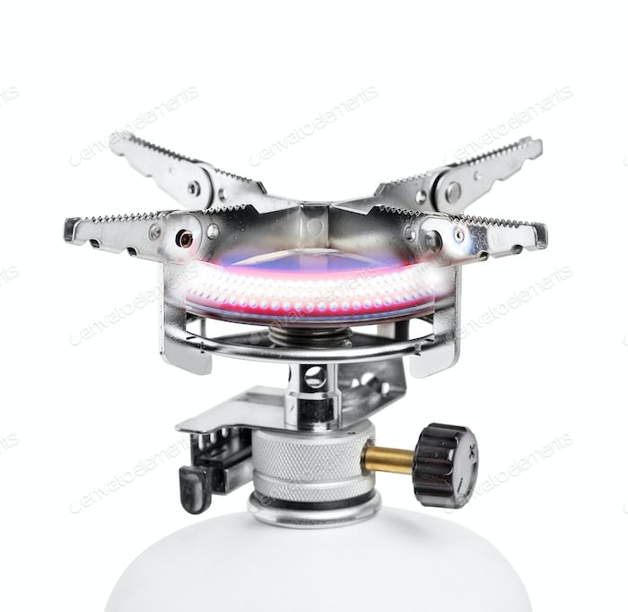 Portable gas burner isolated on white background