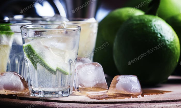 Bitter cocktail with lime, green grapefruit, ice and gin