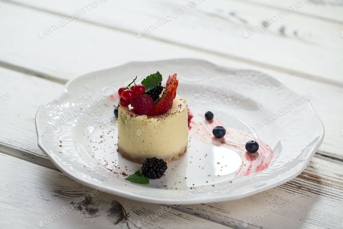 Small cake on plate
