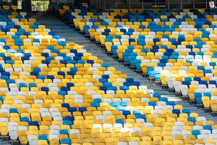 empty colorful stadium tribunes with stairs