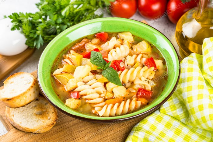 Minestrone with vegetable and pasta