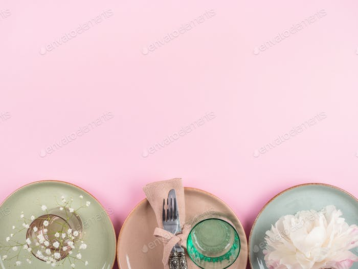 Pastel color crockery tableware background