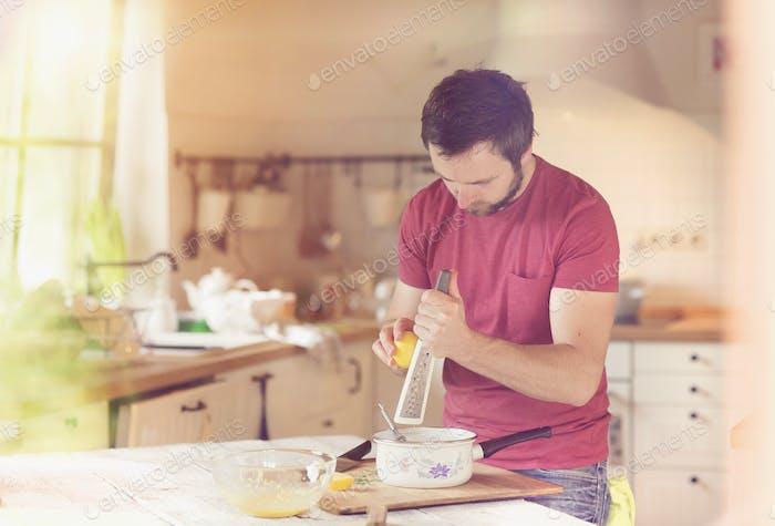 Man preparing a sauce