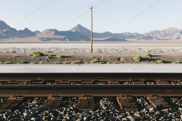 Railroad tracks in desert in the Salt Flats