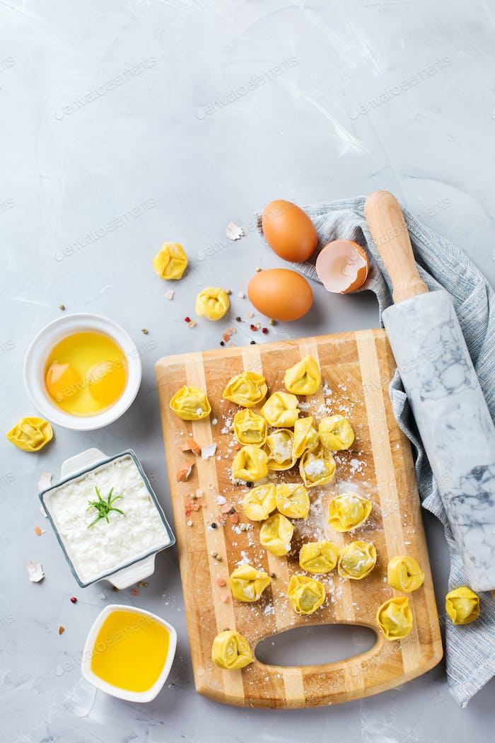 Italian food and ingredients, handmade tortellini with ricotta