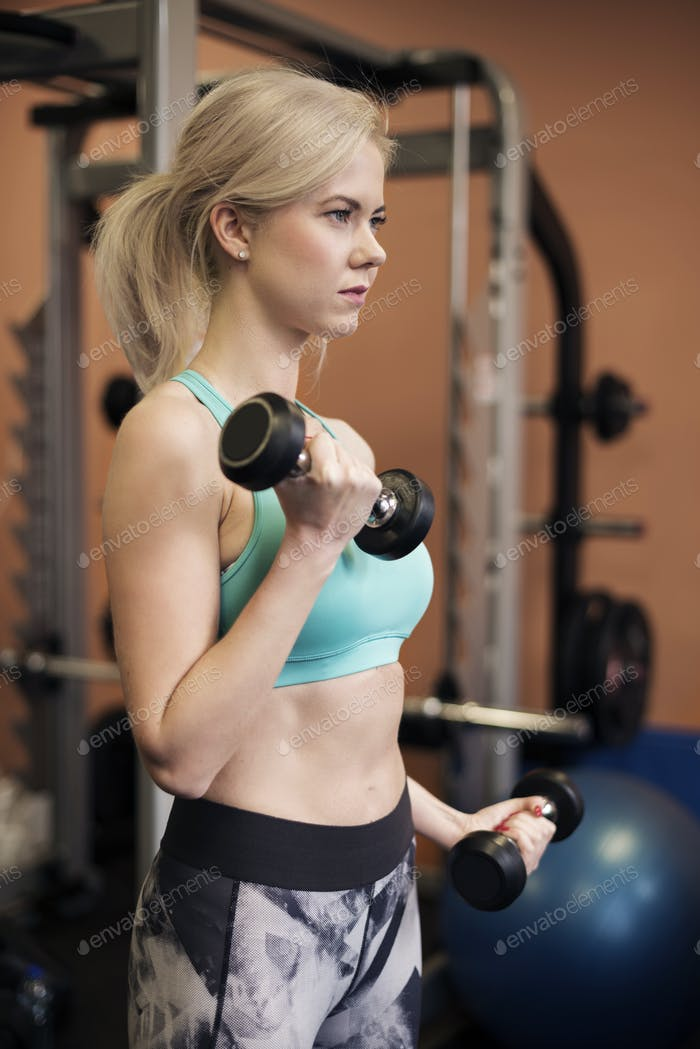 Side view of woman during workout