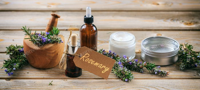 Rosemary aromatherapy. Essential oil and cosmetics, tag with text rosemary, banner.