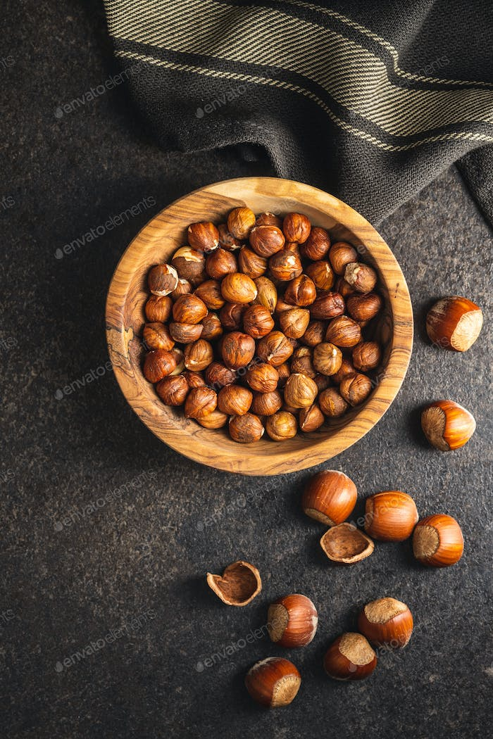 Hazelnuts. Many nuts.