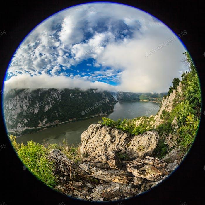 fisheye lens image of Danube Gorges